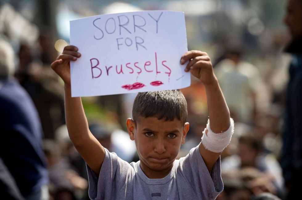 Idomeni cartello solidarietà Bruxelles