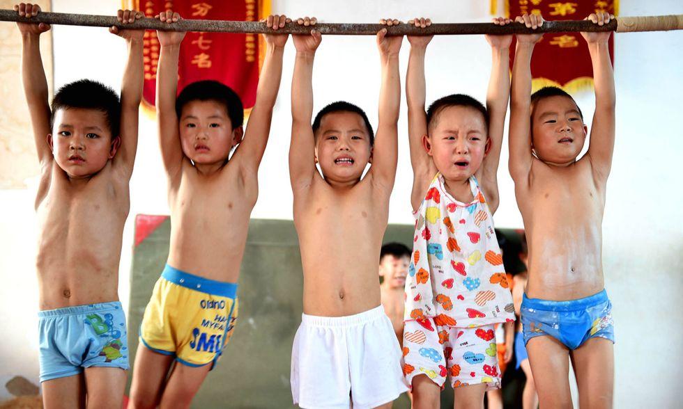 A lezione di ginnastica in Cina