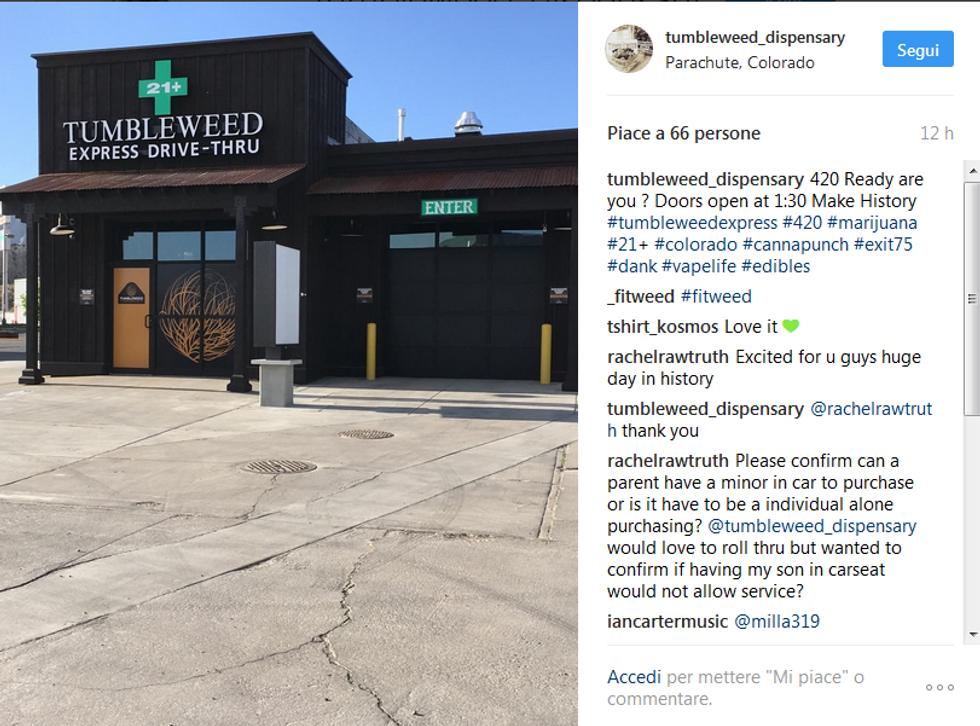 In Colorado il primo drive-in di marijuana