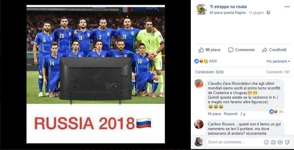 Al via i mondiali 2018 senza l'Italia: i meme più divertenti