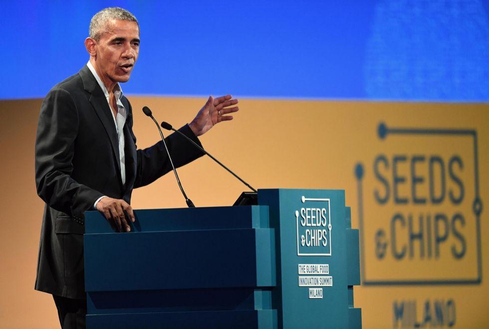 "Barack Obama attends the ""Seeds&Chips - Global Food Innovation"" summit"