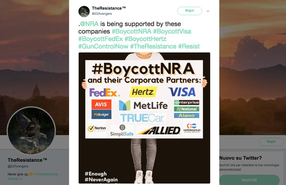 #BoycottNRA. E ora anche le aziende si allontanano dalla lobby delle armi