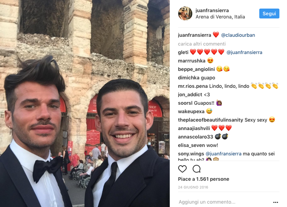 Claudio Sona ex fidanzato Juan Fran Sierra