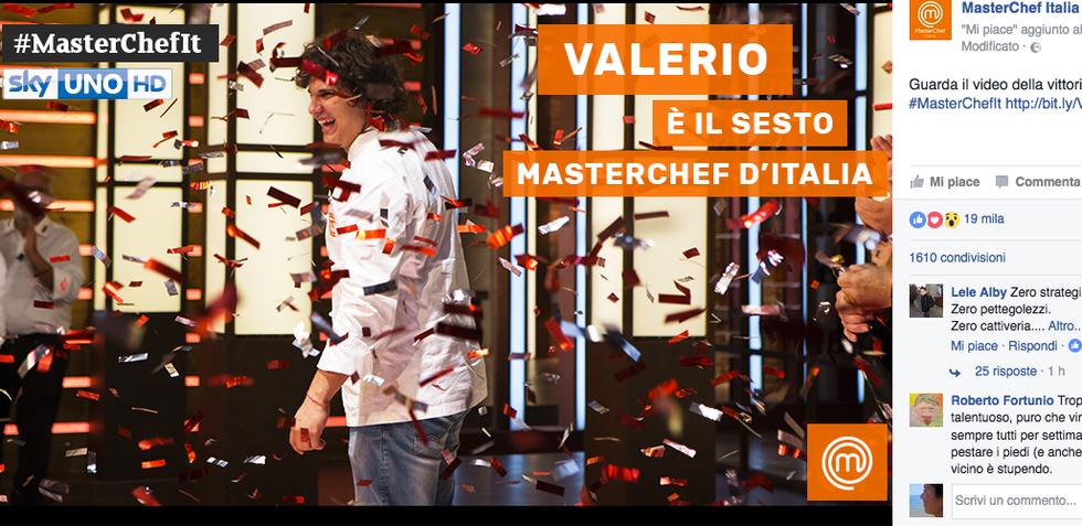 E' Valerio Braschi il vincitore della sesta edizione di MasterChef