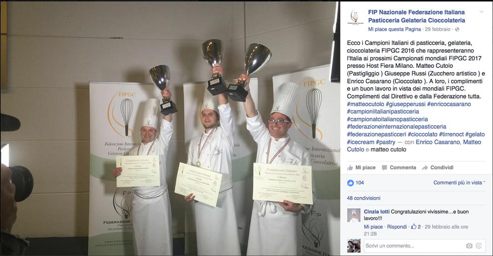 Enrico Casarano, Matteo Cutolo e Giuseppe Russi, i tre vincitori del campionato italiano di pasticceria 2016