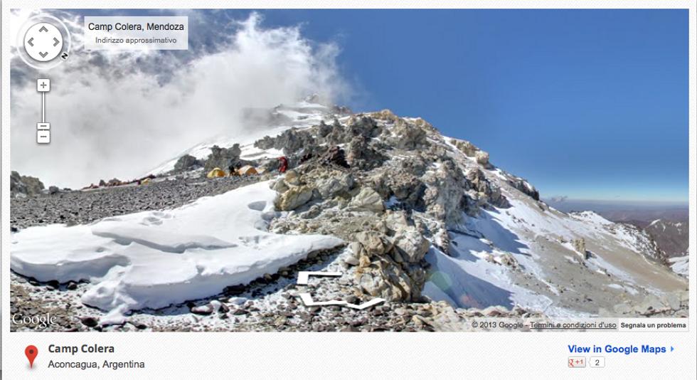Google Street View sull'Acongagua e l'Elbrus