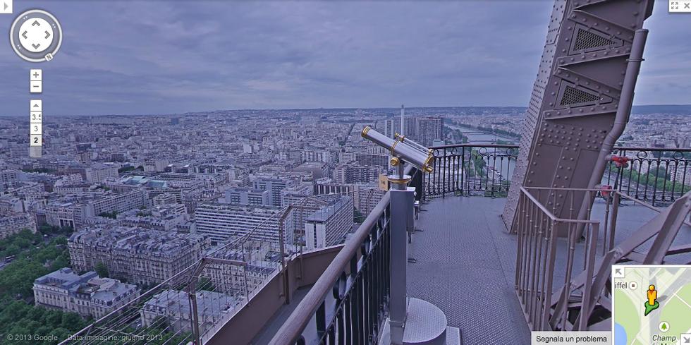 Google Street View sulla Torre Eiffel