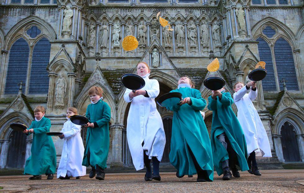 Il martedì del pancake alla cattedrale di Salisbury