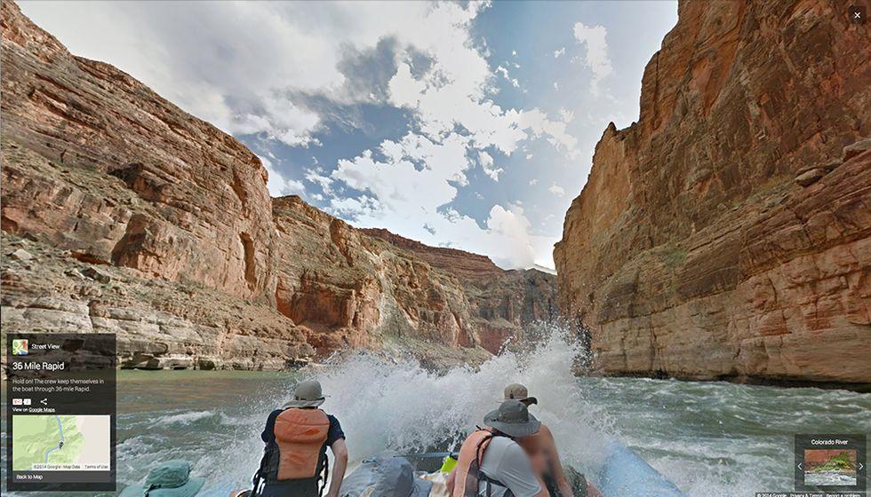 Google Street View tra le rapide del fiume Colorado