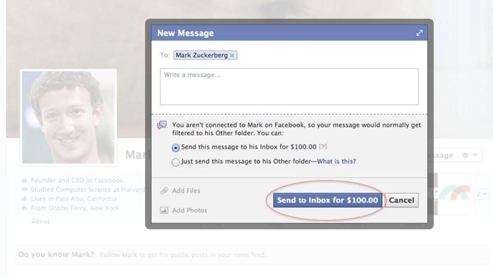Vuoi parlare con Mark Zuckerberg? Paghi 100 dollari a Facebook
