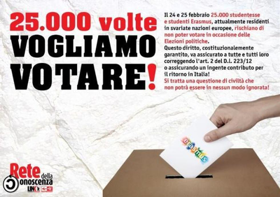 Erasmus student of Italy protest regulations that prevent them from voting