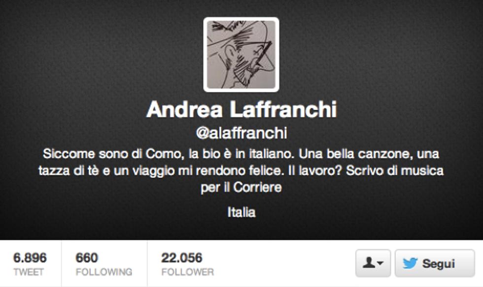 Andrea Laffranchi: Il musicista-mancato-che-diventa-critico è una delle peggiori figure che si possano incontrare nel mondo musicale