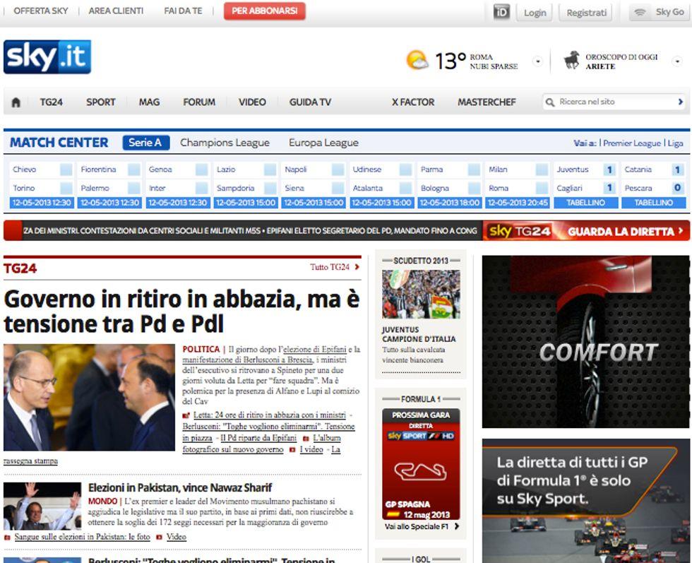 """Sky e il suo sito: """"Nessun rischio per i nostri clienti"""""""
