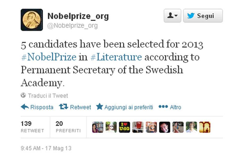 Nobel letteratura 2013: chi sono i cinque autori in lizza?