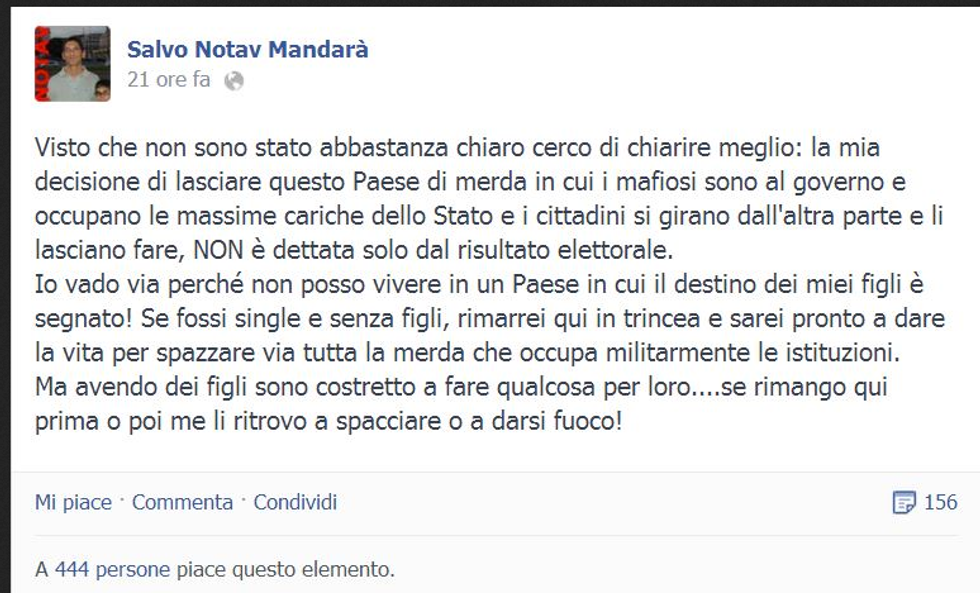 L'addio all'Italia di Salvo Mandarà diventa un must in rete