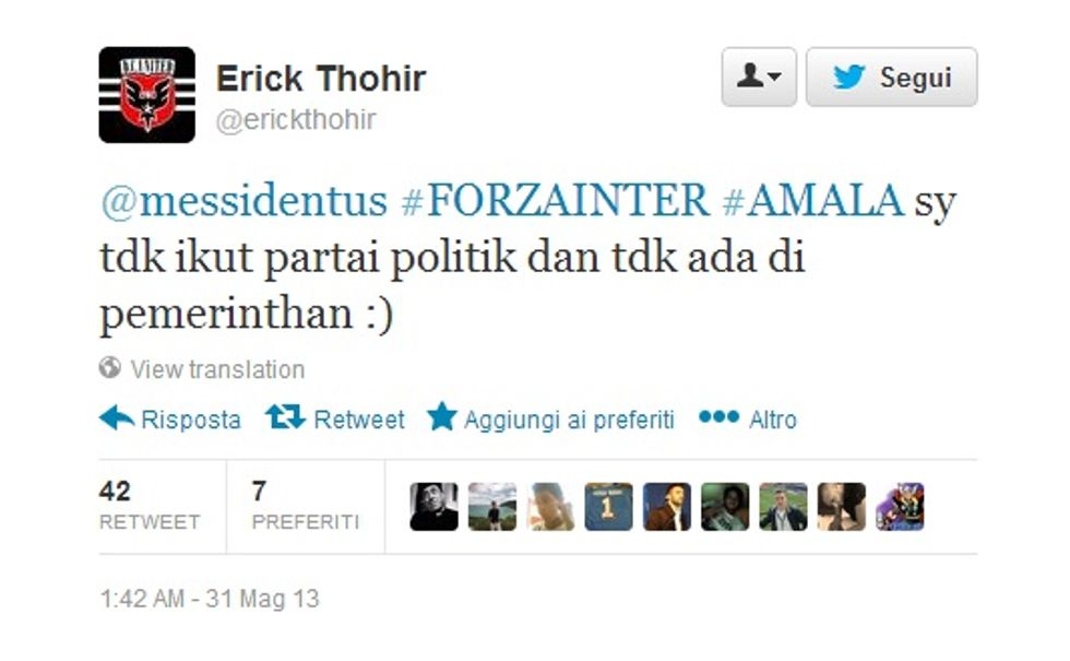 "Erick Thohir su Twitter: ""Forza Inter"" (ma senza politica)"