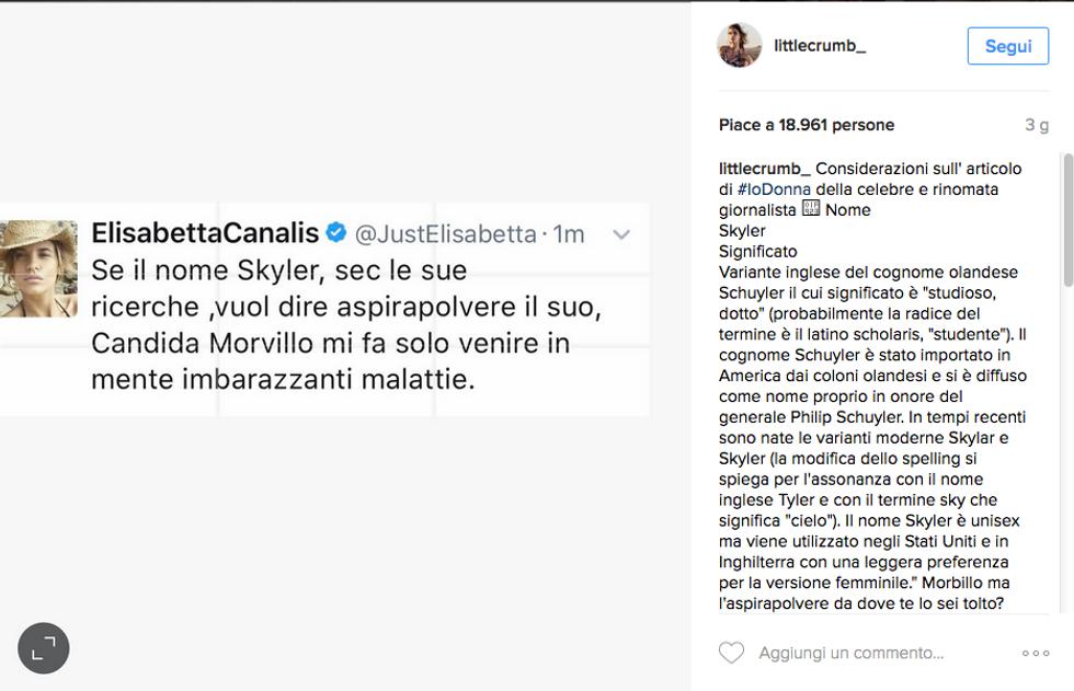 La piccata risposta di Elisabetta Canalis alle considerazioni sul nome di sua figlia da parte della giornalista Candida Morvillo