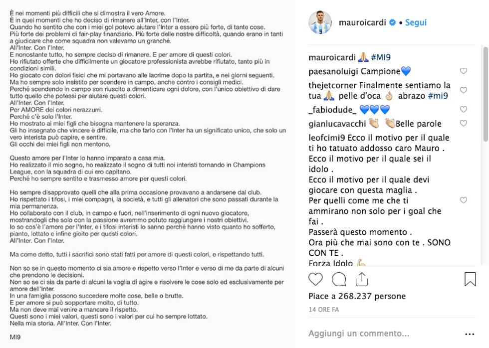 lettera Icardi Inter instagram