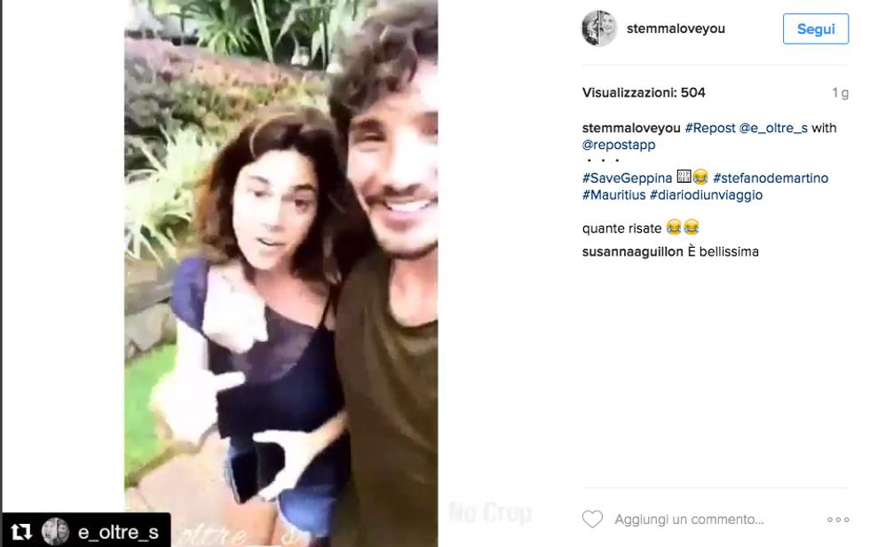 Stefano De Martino in vacanza con Geppina