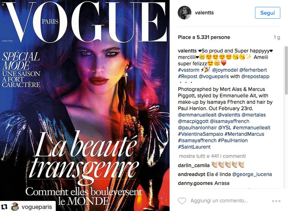 Valentina Sampaio, una modella trans sulla cover di Vogue