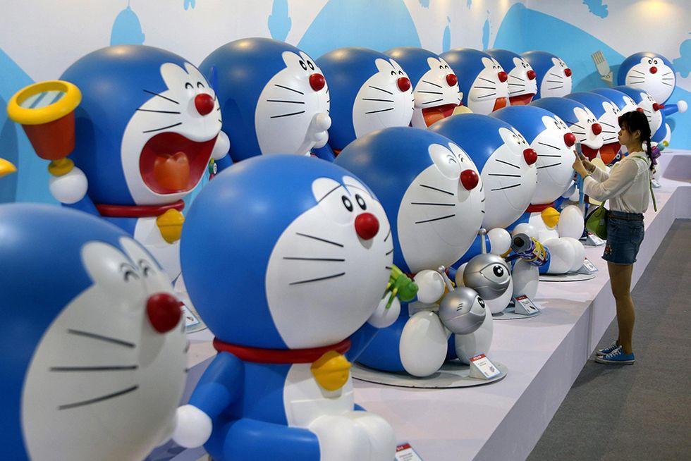 Doraemon il gatto robot in mostra a Qingdao