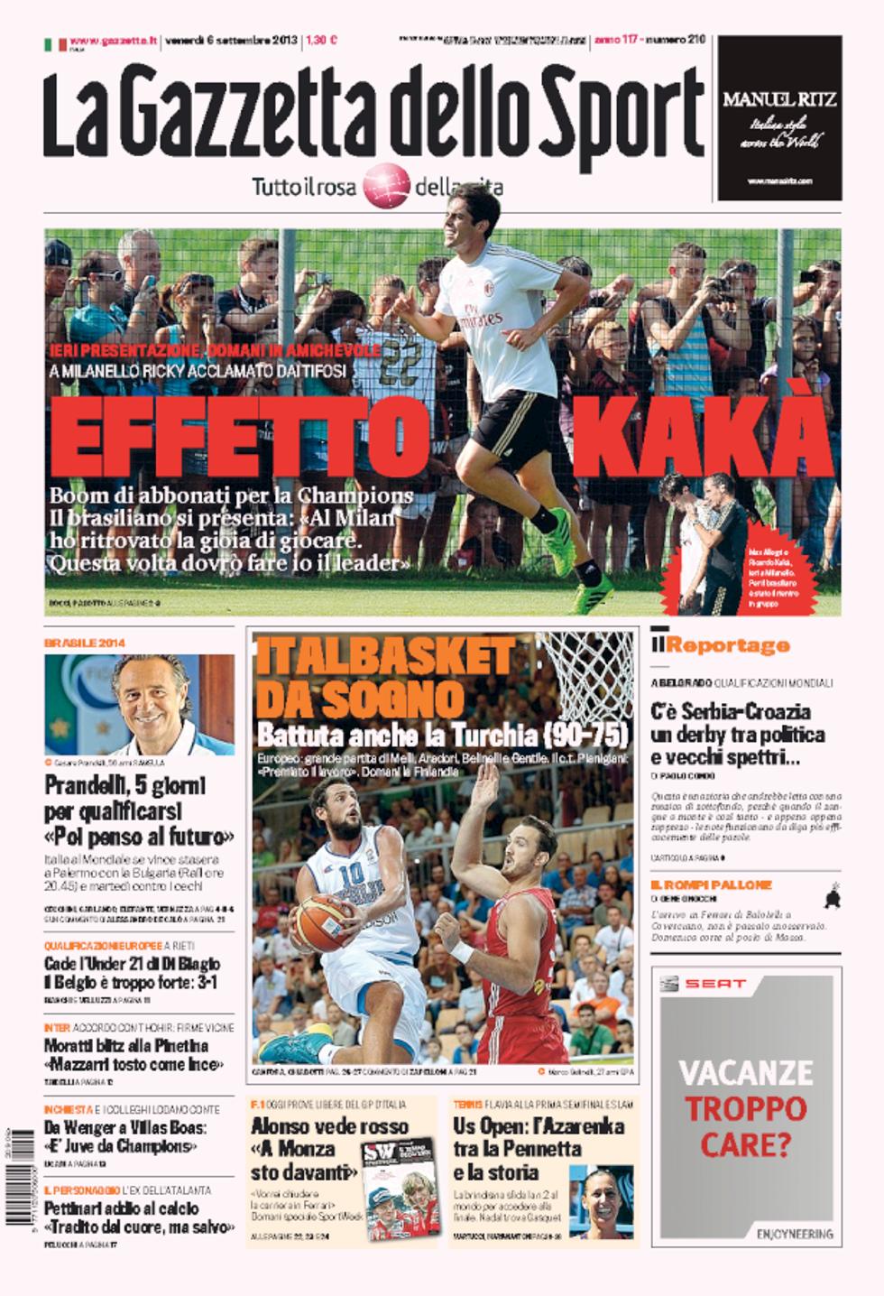 RASSEGNA - Il giorno dell'Italia e l'impresa del basket