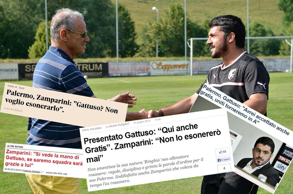"""Zamparini fa 20, esonerato anche Gattuso: """"Errore mio"""""""