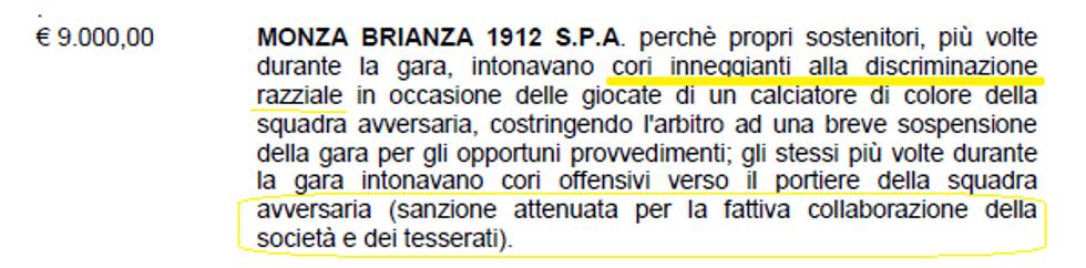 CASO - Lo sconto al Monza fa cadere le norme antirazzismo?