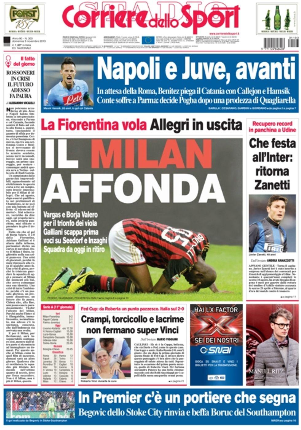 RASSEGNA - La Fiorentina spacca il Milan