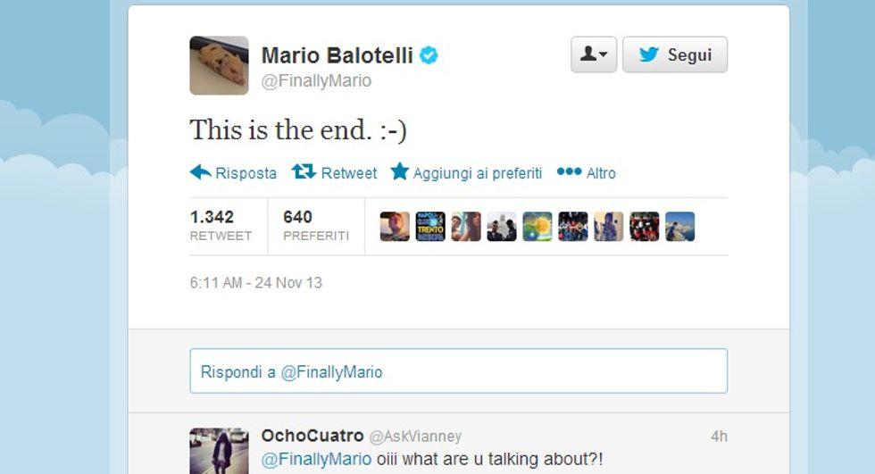"""... E Balotelli twitta all'alba: """"E' la fine"""""""