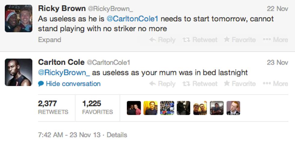Critichi Cole? E lui insulta tua madre su Twitter...