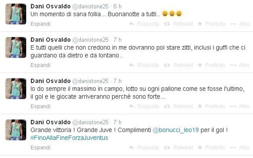 "Osvaldo scatenato su Twitter: ""Contro i gufi..."""