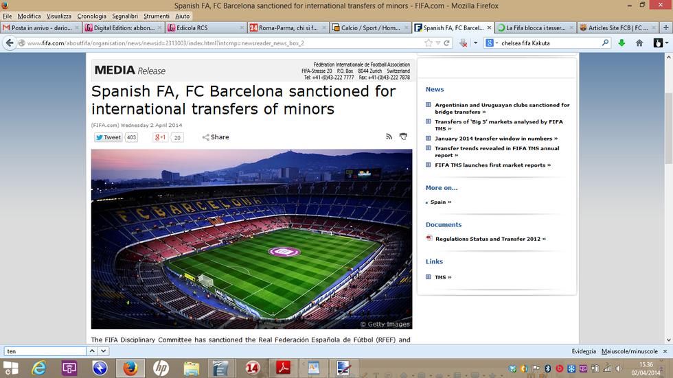 Caso Barcellona-Fifa: ecco cosa dice l'articolo 19