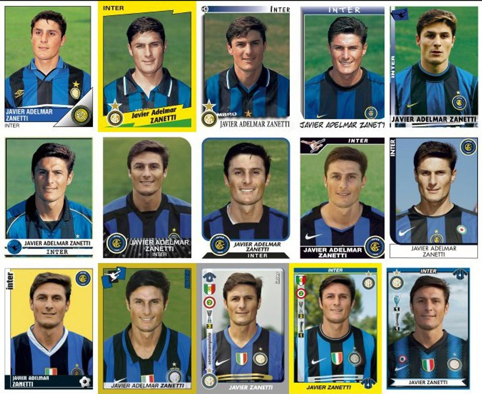 Javier Zanetti in vent'anni di figurine