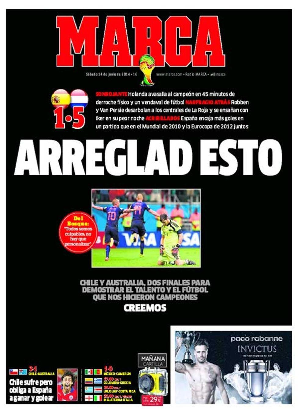 ... E Marca esce a lutto per la Spagna travolta