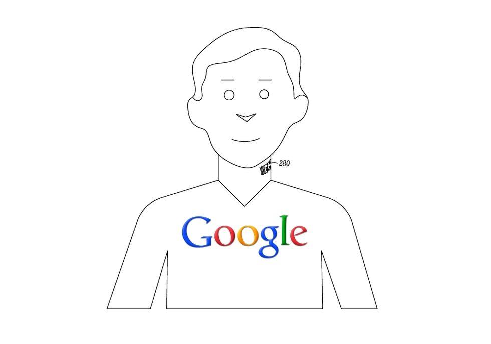 Google brevetta il tatuaggio elettronico, uno smart-microfono attaccato alla gola
