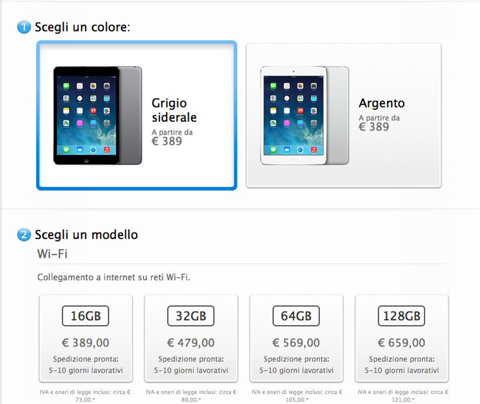 iPad mini retina: da oggi è disponibile in Italia