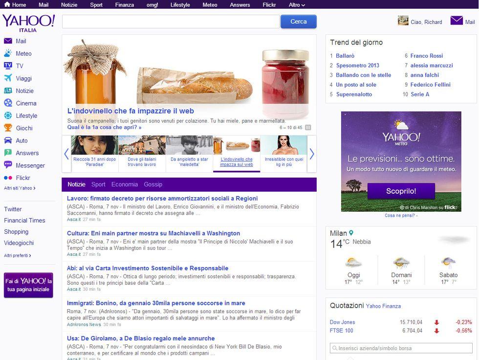 Yahoo! rivede la homepage: ora tutto è a distanza di un clic