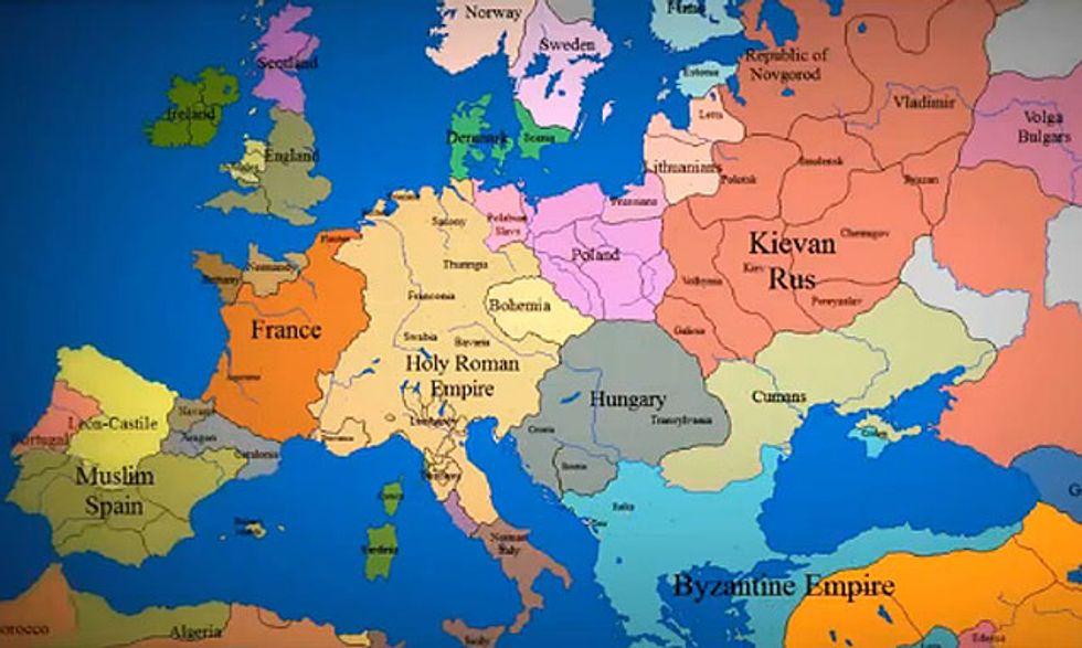 La mappa dell'Europa dall'anno 1000 a oggi