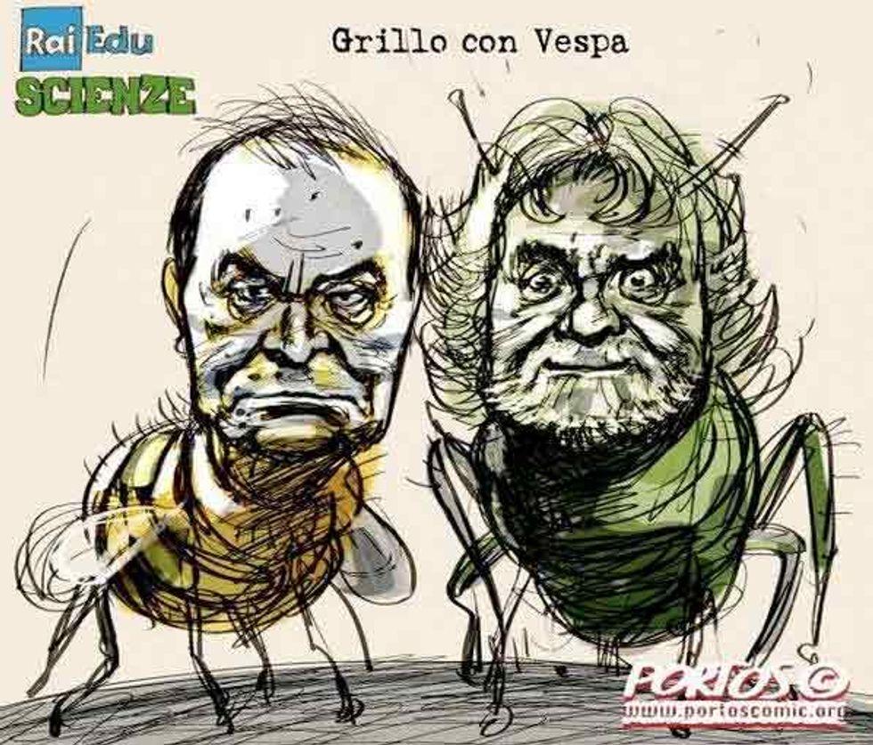 Beppe Grillo nel salotto di Bruno Vespa. L'ironia di twitter