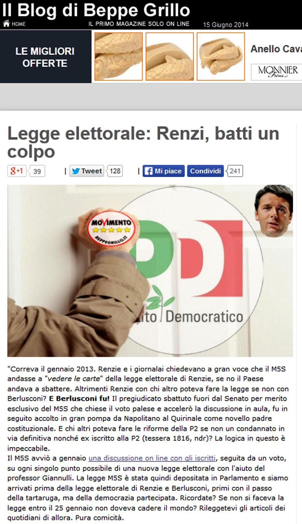 Grillo apre a Renzi e la base Pd prepara i pop-corn