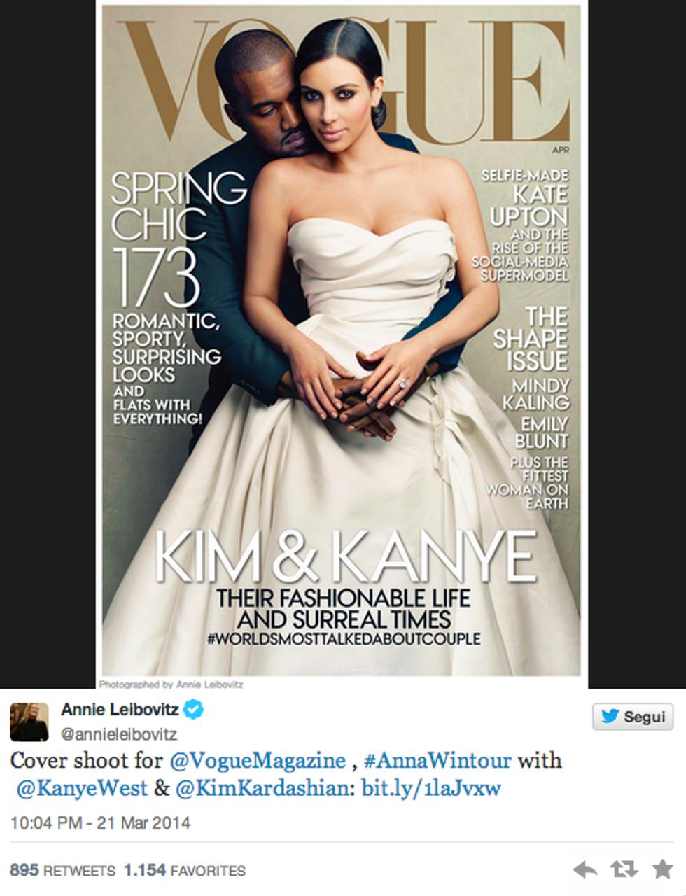 Kim Kardashian e Kanye West sposi sulla cover di Vogue America