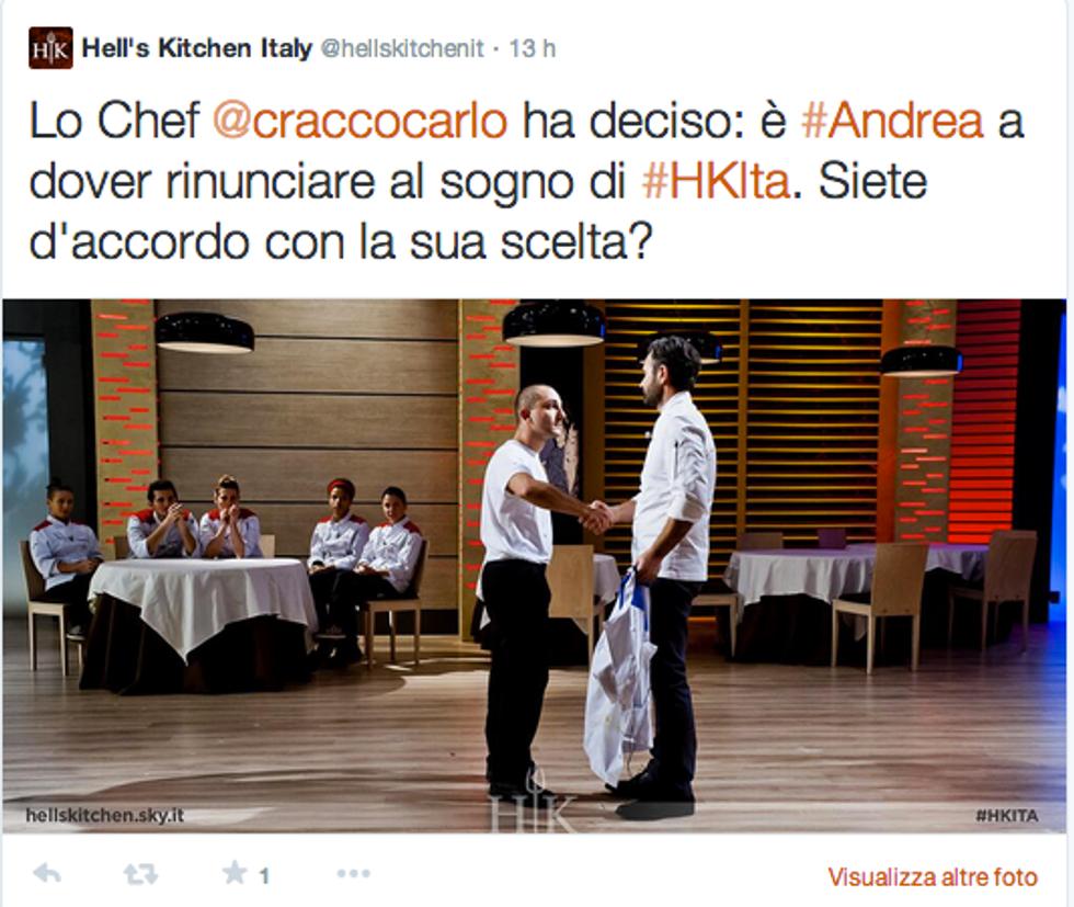 Hell's Kitchen Italia: eliminati Andrea ed Amelia