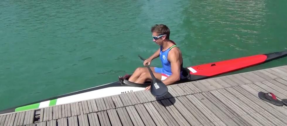 Max Benassi in canoa 'sulla scia' di Antonio Rossi