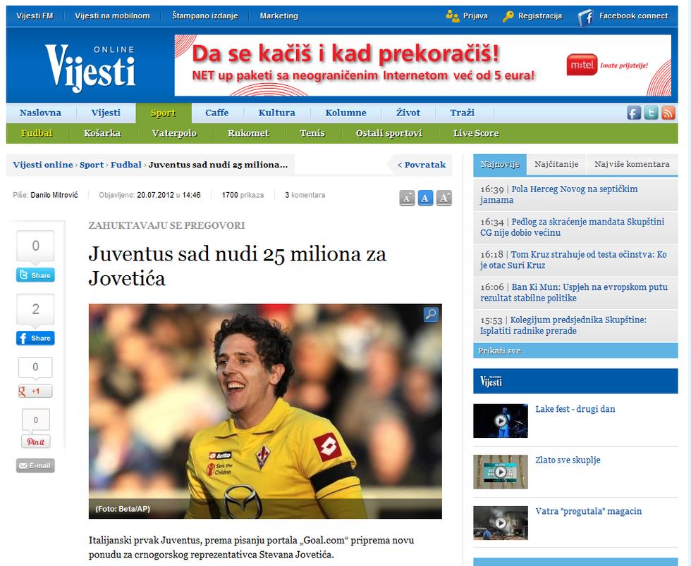 "Dalla Serbia: ""Jovetic alla Juventus!"""