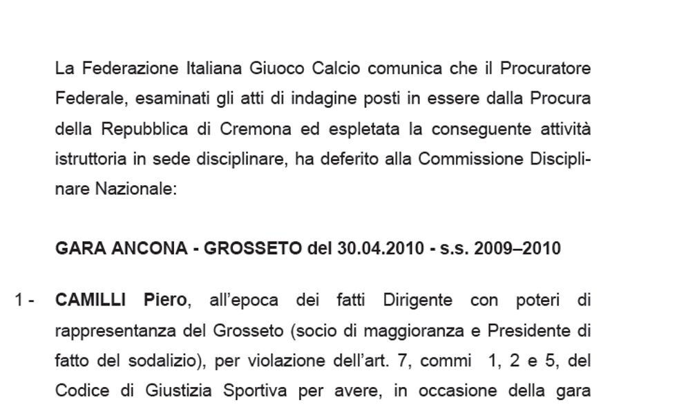 Calcioscommesse: i deferimenti - DOCUMENTO
