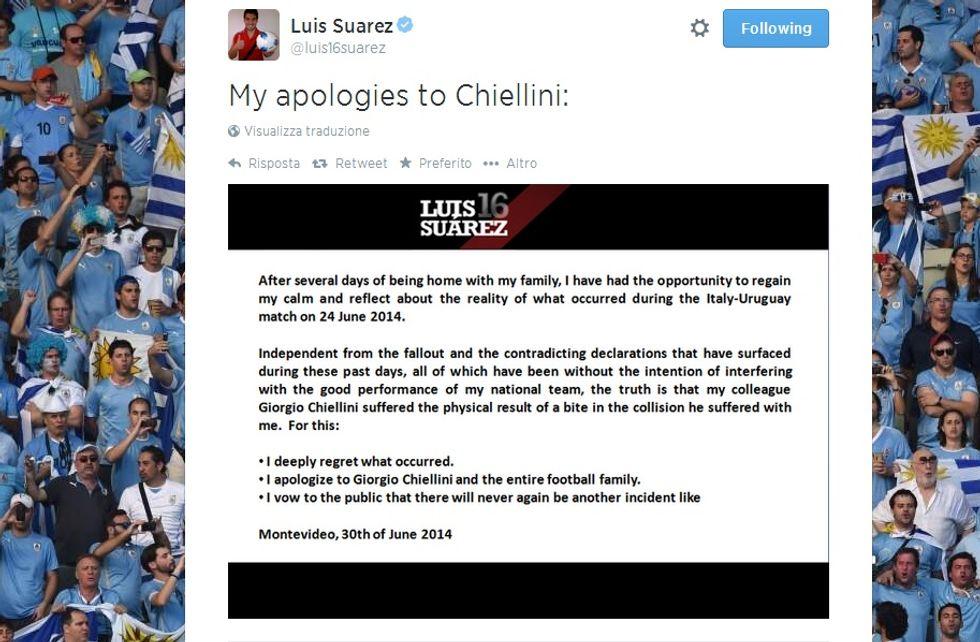"""Le scuse di Suarez a Chiellini: """"Non capiterà più"""""""