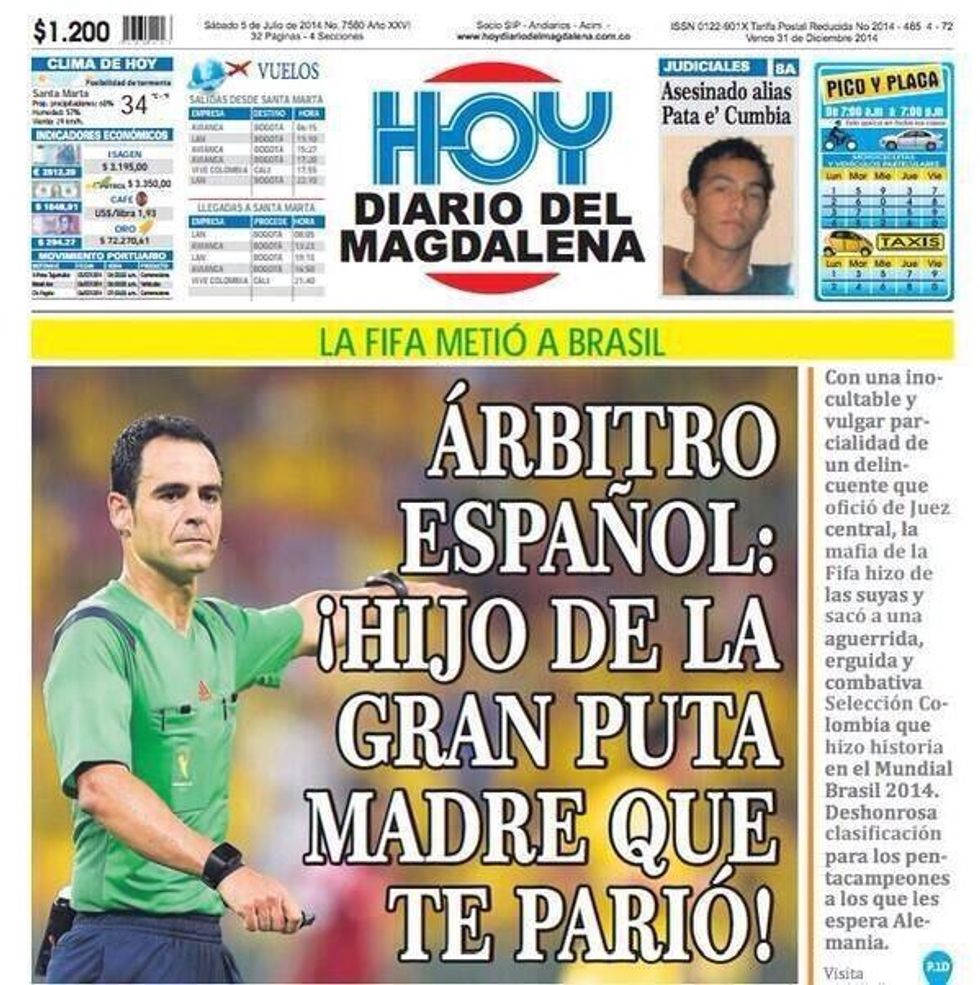 E i giornali in Colombia se la prendono con l'arbitro...