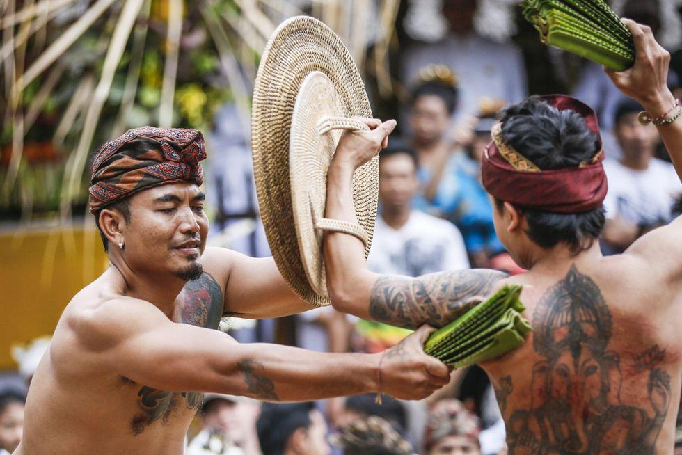 La lotta con foglie di pandano in Indonesia