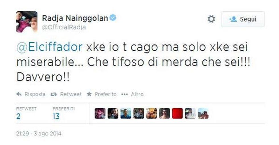 """Tweet contro Borriello e Nainggolan si scatena: """"Sei un tifoso di m..."""""""